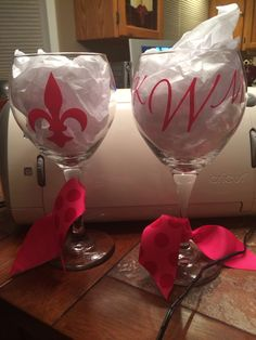Cricut monogrammed wine glasses