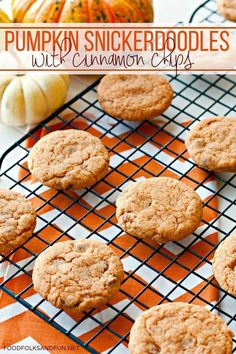 This PUMPKIN SNICKERDOODLES recipe is so easy to make and perfect for fall. The cookies are made with a pudding mix which makes them soft and chewy, plus they're dotted with cinnamon chips. | Pumpkin | Pumpkin Spice | Fall Recipe | Fall Dessert | Pumpkin Recipes | Pumpkin Dessert | Fall Cookies