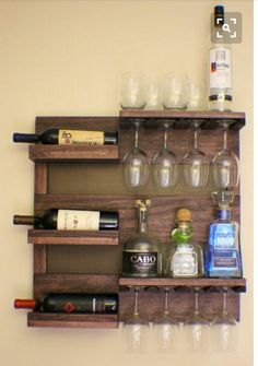 Rustic Dark Cherry Stained Wall Mounted Wine Rack with Shelves and Decorative Mesh, Wine and Liquor Shelf and Cabinet ON SALE Rustic Dark Cherry Stained Wall Mounted Wine Rack with by TheKnottyShelf Vin Palette, Diy Casa, Diy Holz, Pallet Furniture, Bedroom Furniture, Furniture Decor, Bedroom Decor, Furniture Stores, Cheap Furniture