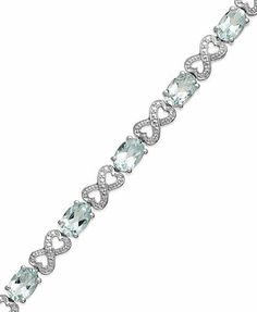 ) and Diamond Accent Infinity Bracelet in Sterling Silver Aquamarine Bracelet, I Love Jewelry, Jewelry Collection, Infinity, Jewelery, Jewelry Watches, Princess Dresses, Sterling Silver, Diamond