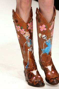 Ashish hand painted Day of the Dead cowboy boots 2011: