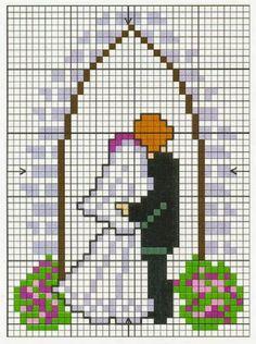 Wedding Cross Stitch, Mini Cross Stitch, Cross Stitch Cards, Cross Stitch Kits, Cross Stitch Designs, Cross Stitching, Cross Stitch Embroidery, Cross Stitch Patterns, Needlepoint Patterns