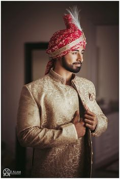 indian groom getting ready in gold cream sherwani (dont like hat pattern) Wedding Kurta For Men, Wedding Dress Men, Wedding Groom, Bride Groom, Punjabi Wedding, Wedding Updo, Farm Wedding, Wedding Couples, Wedding Makeup