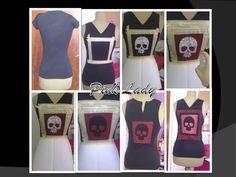 Yasmina González Pena. 2º curso.  Pasos para la customización de una camiseta.  Reserva de color y eliminación de color mediante lejiado en spay, para formar el dibujo de la calavera.