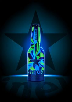 ON Heineken aluminium bottle with fluorescent graphics by Matt W. Moore PD