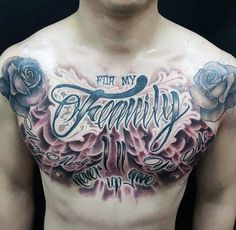 Guys Chest Roses And Purple Flamed Family Tattoo
