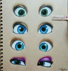 """""""Disney princesses eyes""""  can you name them all? By @twinningart ."""