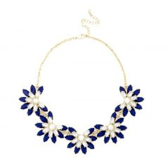 Short Floral Necklace  - Cobalt