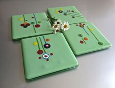Four Piece Fused Glass Coaster Set Mint Millefiori  by Glassimo, $30.00