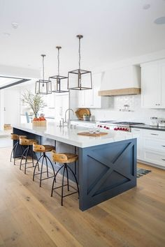 Family Home Interior Beautiful white and blue coastal farmhouse kitchen - Blackband Design.Family Home Interior Beautiful white and blue coastal farmhouse kitchen - Blackband Design Blue Kitchen Island, Farmhouse Kitchen Island, Modern Farmhouse Kitchens, Home Kitchens, Painted Kitchen Island, Painted Island, Coastal Farmhouse, Modern Kitchens With Islands, Kitchen Island Seating