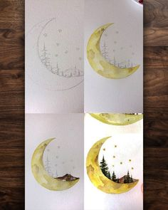 Watercolor moon painting – Related posts: Fire Flower Watercolor Art Print Nintendo Mario Bros Painting Videogame Nintendo Super Mario Geek Art Print Gamer Decor Videogame Art Children's … Moon Painting, Painting & Drawing, Ceiling Painting, Artist Painting, House Painting, Moon Drawing, Painting Canvas, Painting With Watercolors, Simple Watercolor Paintings