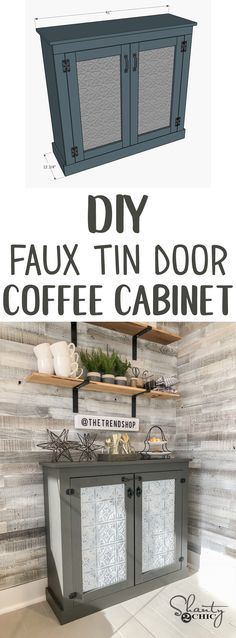 LOVE this DIY Coffee Cabinet! The faux tin is inexpensive and easy to work with! Free plans and how-to video!