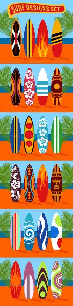 24 Surf Vector Designs  For download - http://graphicriver.net/item/24-surf-vector-designs-/7934568?WT.ac=portfolio&WT.z_author=ragerabbit