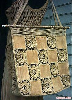Irish lace, crochet, crochet patterns, clothing and decorations for the house, crocheted. Crochet Handbags, Crochet Purses, Irish Crochet, Crochet Lace, Handmade Kids Bags, Hand Knit Bag, Bag Pattern Free, Handbag Patterns, Denim Bag