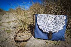 denim and doily bag