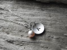 Custom Letter Stamped Pink Pearl Silver Aluminum Pendant Necklace Sterling Silver Chain.  #necklase #jewelry #monograms 9thelm.com