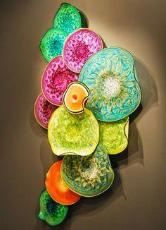 Colourful Blown Art-Glass Sculpture Wall Installation by Thomas Long♥≻★≺♥ Art Of Glass, Blown Glass Art, Fused Glass Art, Glass Wall Art, Stained Glass, Glass Walls, Wall Sculptures, Sculpture Art, Sculpture Ideas