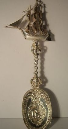 Rare Antique Continental Sterling Silver Figural Nautical Galleon Ship Spoon.