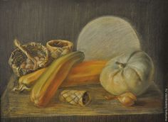 Купить Картина пастелью Дары осени - оранжевый, тыква, овощи, дары осени, изобилие