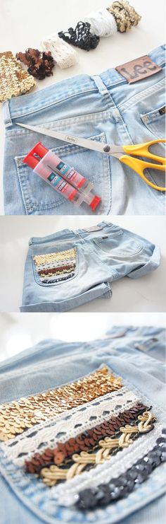 Not that I would ever have the patience or artistic talent to do this... but maybe I can find someone that does!   DIY shorts