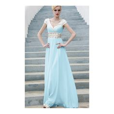 Chiffon Floor-Length Empire Short Sleeves Long Formal Dresses - by... (740 CNY) via Polyvore