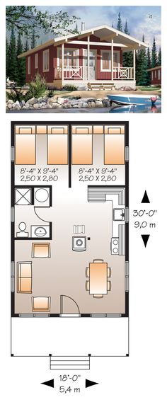 Narrow Lot House Plan 76167 | Total Living Area: 540 sq. ft., 1 bedroom & 1 bathroom. #narrowlot #houseplan