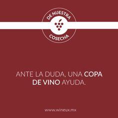 Quítate la duda con una copa de vino.  #FrasesDeVino #Vino #VinoMexicano