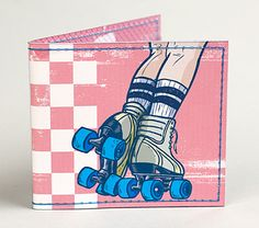 """This super cute vinyl wallet features an illustration """"I Heart Derby Girls"""" by Zach Trover and is handmade by Tiny Meat. It has hand stitched details and features a large pocket for cash and four pockets for ID and credit cards. Size: x (closed) Roller Derby Clothes, Roller Skating, Easy Drawings, Cool Gifts, Hand Stitching, Super Cute, Wallet, Retro, Handmade"""