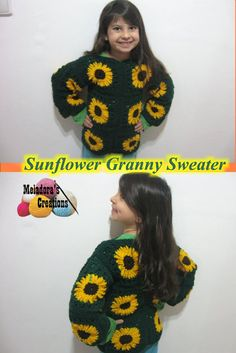 Sunflower Granny Sweater – Free Crochet Pattern and video tutorials for Right and Left handed - by Meladora's Creations