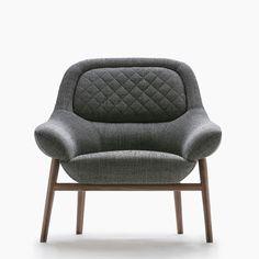 Moderner Sessel / nach Maß / Gewebe / Nussbaum HANNA BERTO SALOTTI