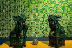 Image result for green glass tiles