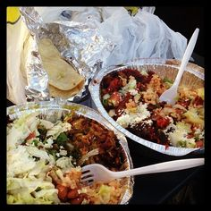 Mexican food truck - Carnitas and Chorizo with rice and beans.