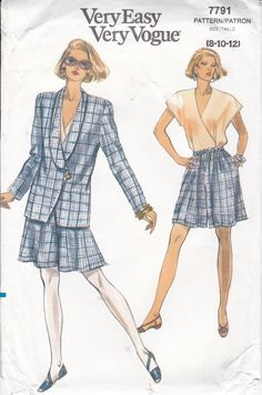 Free Us Ship Sewing Pattern Vogue 7791 Vintage Retro 1990s 90's 1990 Shorts Suit Jacket Skirt 8 10 12 Bust 31.5 32.5 34 Uncut Elastic Waist by LanetzLiving on Etsy