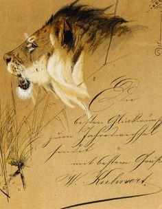 Wilhelm Kuhnert (1865-1928). A Lion Head Study. Pen, watercolour, bodycolour. 10,8 x 9,5cm.