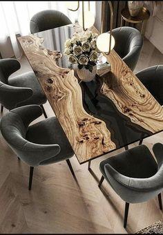Dream Home Design, Home Interior Design, Interior Decorating, House Design, Modern Interior, Wood Table Design, Dining Room Design, Resin Furniture, Home Furniture