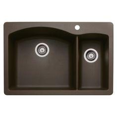 Blanco 440197 Diamond 1-1/2 Bowl Silgranit II Sink, Café Brown