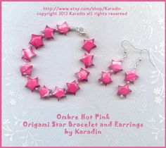 Ombre Hot Pink Origami Star Bracelet and Earrings by Karadin. $26.00, via Etsy.