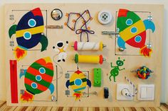 "Busy Board ""Space"", Activity Board, Sensory Board, Montessori educational Toy, Wooden Toy, Fine motor skills board for toddlers & babies"