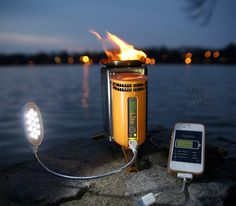 Wood-powered BioLite camp stove - Not only does it burn wood in a clean, no-smoky-taste way, it generates electricity, allowing you to power up iPods, phones and such, via its USB port.