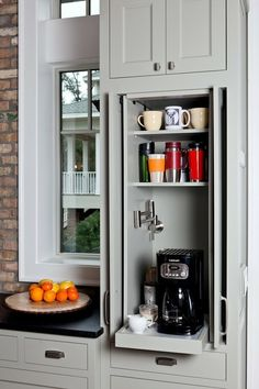 Hidden coffee nook. My friend Sandi has one of these only it's about 3x as big…