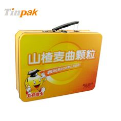 This custom tin  with plastic handle & padlock is made of food grade tinplate and lacquer to pack biscuit, chocolate and other food product. http://www.tinpak.us/Products/gifttinboxwithhandle.html