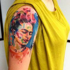 Watercolor Frida Kahlo tattoo #watercolor #FridaKahlo #abstract #shapes #EmrahdeLausbub