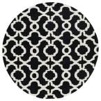 Revolution Black 5 ft. 9 in. x 5 ft. 9 in. Round Area Rug