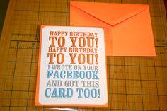 funny birthday card, happy birthday, note card, facebook.