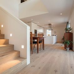 Parkett Berg & Berg, Eiche Swiss Special, geölt weiss House Stairs, Parquet, Living Room Modern, Living Area, Home Living Room, Wooden Flooring, Mid Century House, White Oak, Stair Lighting