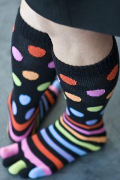 Long and/or toe socks (Polka dots, Argyle, stripes, etc. Wacky Socks, Crazy Socks, Toe Socks, Thigh High Socks, Colorful Socks, Designer Socks, Sexy Toes, Fashion Socks, Sock Shoes