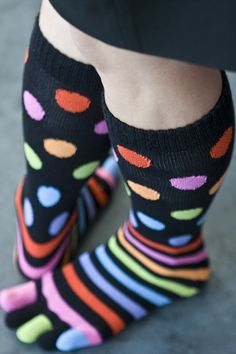Stripes and Dots Toe Socks. love them! Repinned via Patricia Pennell