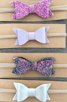 Excited to share the latest addition to my #etsy shop: Baby Headbands | Purple Headband | Nylon Baby Headbands | Bow Headband |Metallic Glitter | Baby Accessories | Hair Bow | Baby Girl Headband