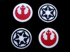 Set 4 posavasos Star Wars. Imperial y Rebelde / BeadxBead - Artesanio