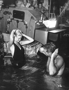 Grace Kelly and Carey Grant on the set of - To Catch A Theif - 1955